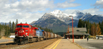 Train leaving Banff Railway Station in Alberta, Canada