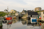 Old boat and fisherman port in Peggy's Cove village, Halifax, Nova Scotia, Canada
