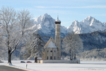 St. Coloman Church in front of Allgaeu Alps, near Neuschwanstein, Bavaria, Germany
