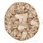 Aztec Goddess Coyolxauhqui stone (Intaglio and etching on steel))