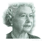 Queen Elizabeth II (Intaglio engraving on steel)