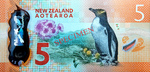 New Zealand Five-dollar note (The 2015 $5 Note was awarded Bank Note of the Year by the International Society in 2016)