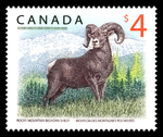 $4 Rocky Mountain Bighorn Sheep postage stamp